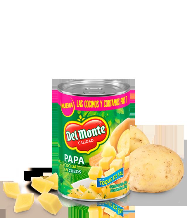 Papa cocida en cubos